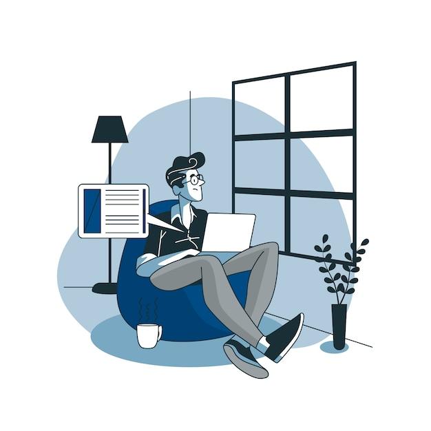Ilustración de concepto blogging vector gratuito