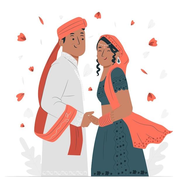 Ilustración de concepto de boda india vector gratuito