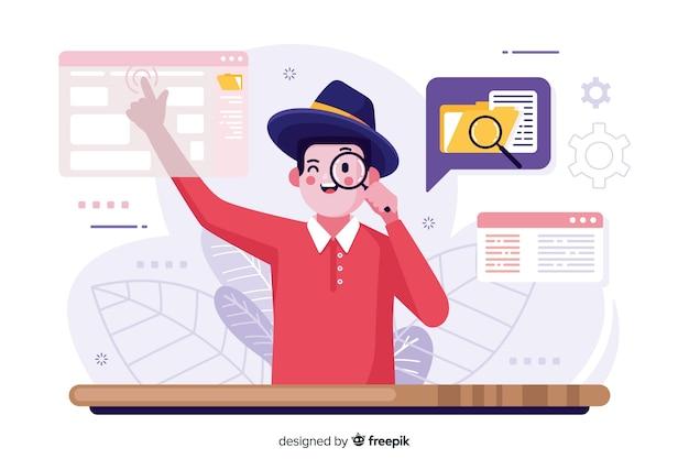 Ilustración de concepto de búsqueda de archivo vector gratuito