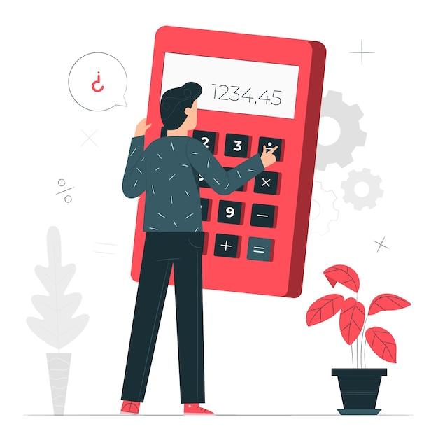 Ilustración del concepto de calculadora vector gratuito