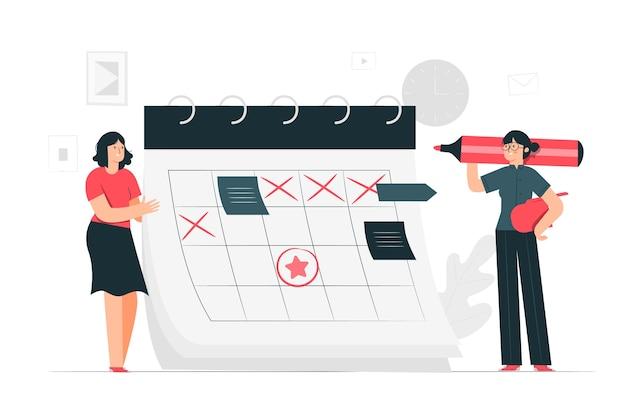 Ilustración del concepto de calendario vector gratuito