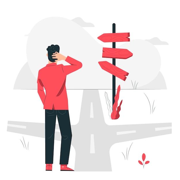 Ilustración del concepto de en el camino vector gratuito