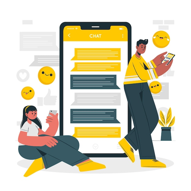 Ilustración del concepto de chat vector gratuito