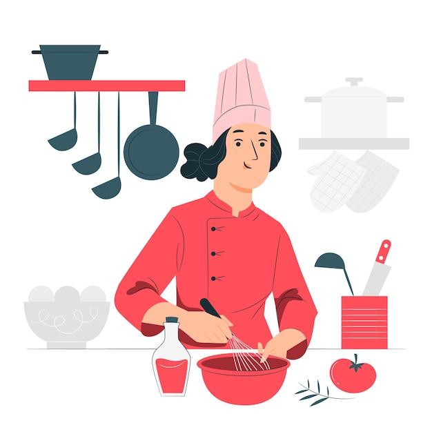 Ilustración del concepto de chef vector gratuito