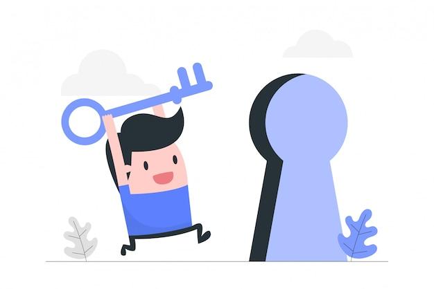 Ilustración del concepto de clave de éxito. Vector Premium