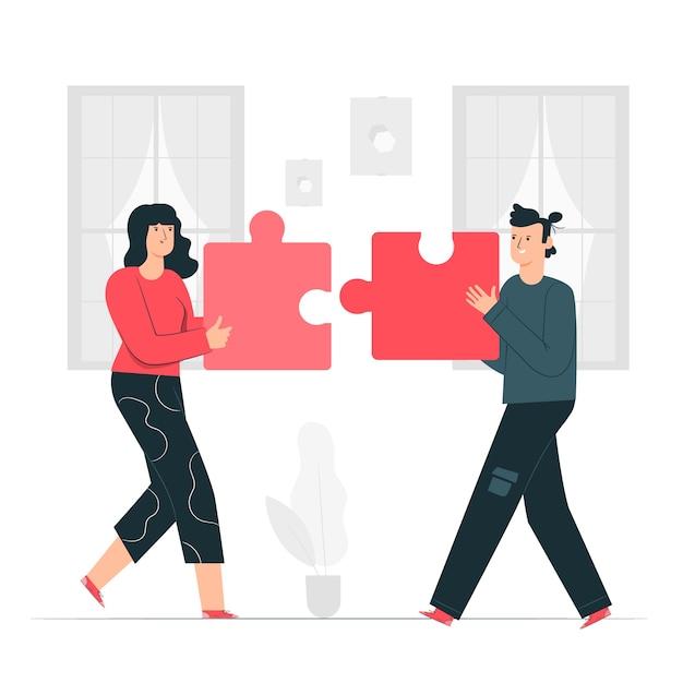 Ilustración del concepto de colaboración vector gratuito