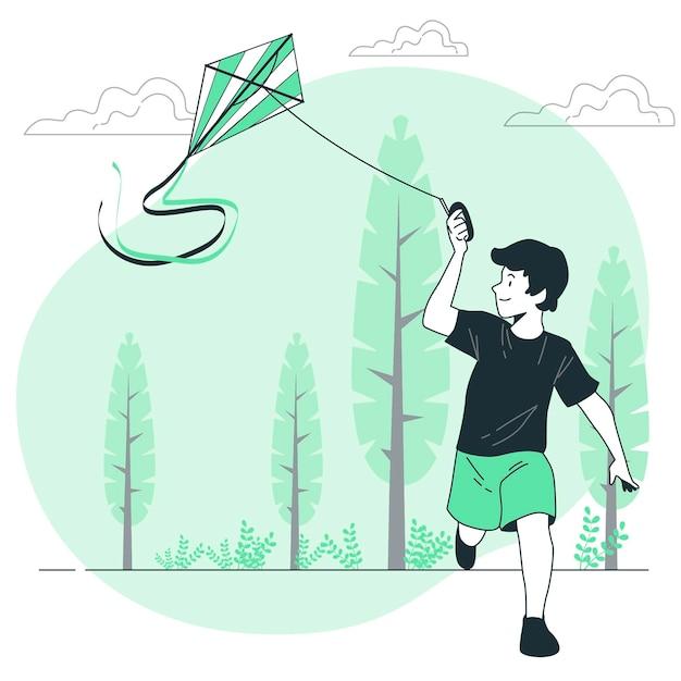 Ilustración de concepto de cometa voladora vector gratuito