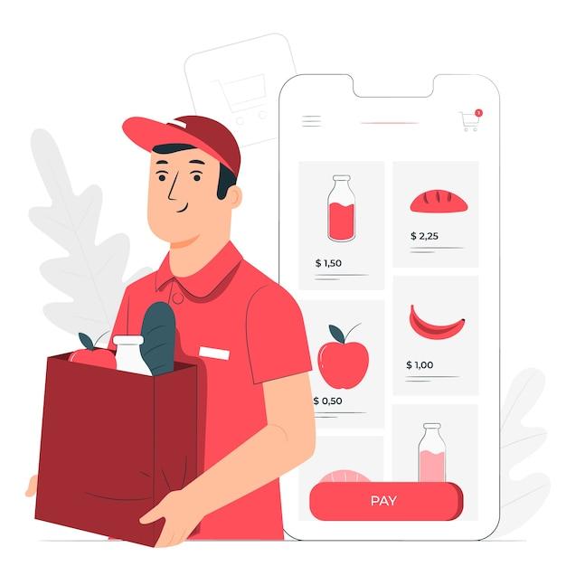 Ilustración del concepto de compra online de comestibles vector gratuito