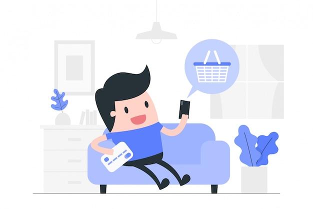 Ilustración del concepto de compras en línea Vector Premium