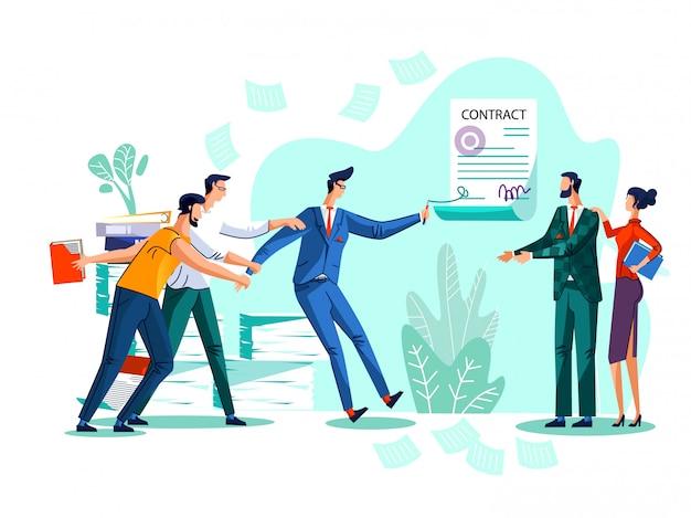 Ilustración del concepto de conclusión del contrato vector gratuito