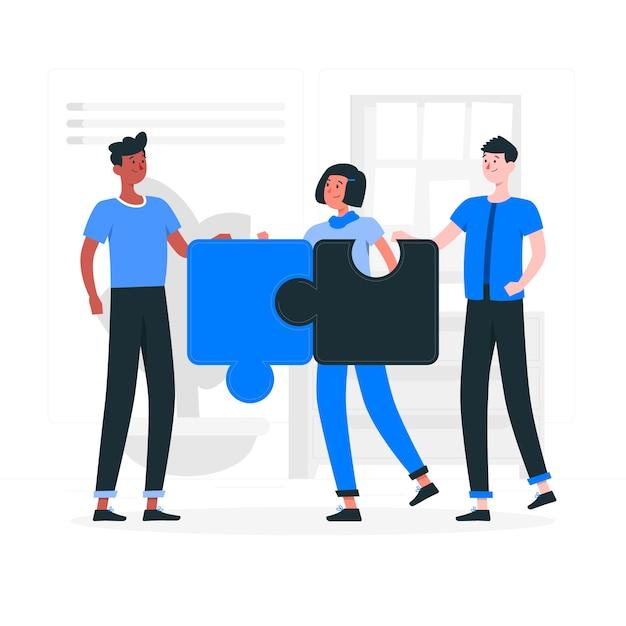 Ilustración del concepto de conexión de equipos vector gratuito