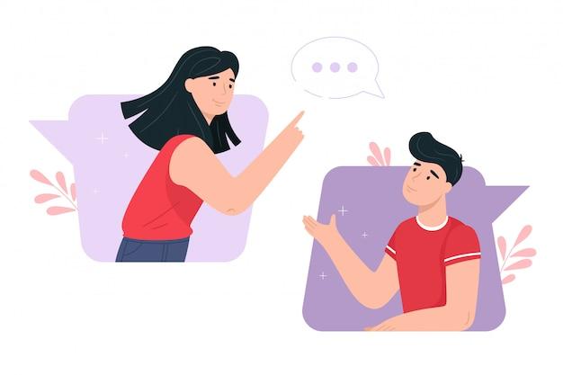 Ilustración del concepto de conversación. en estilo plano comunicación,  chat, conversación | Vector Premium
