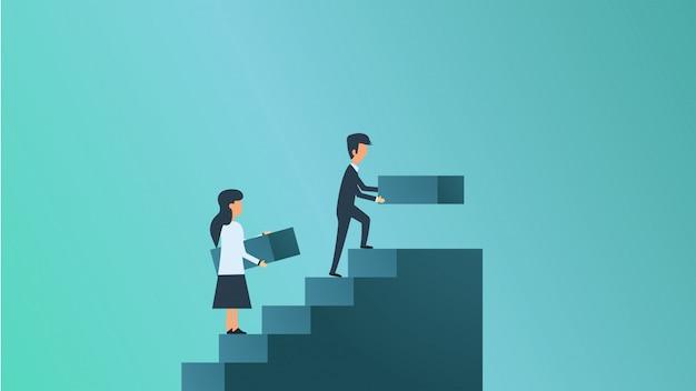 Ilustración de concepto de crecimiento empresarial. hombre y mujer misión ambición éxito Vector Premium