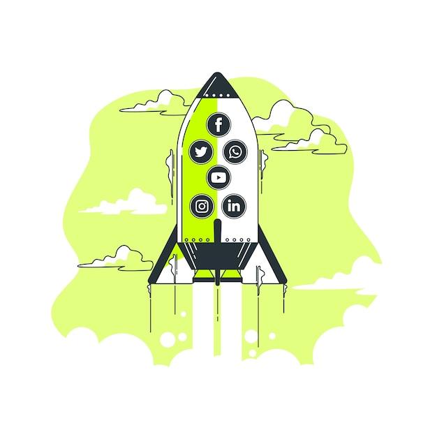 Ilustración de concepto de crecimiento en redes sociales vector gratuito