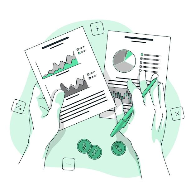 Ilustración del concepto de datos financieros vector gratuito