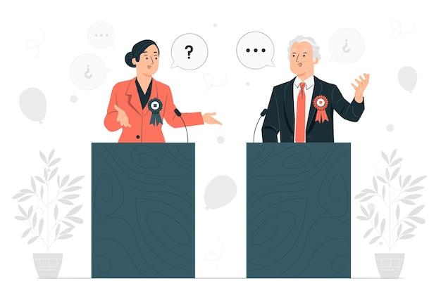 Ilustración del concepto de debate político vector gratuito