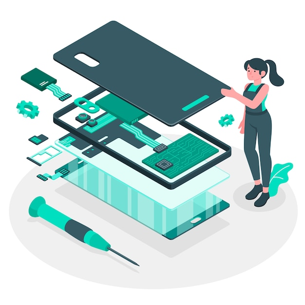 Ilustración del concepto de desmontaje del producto vector gratuito