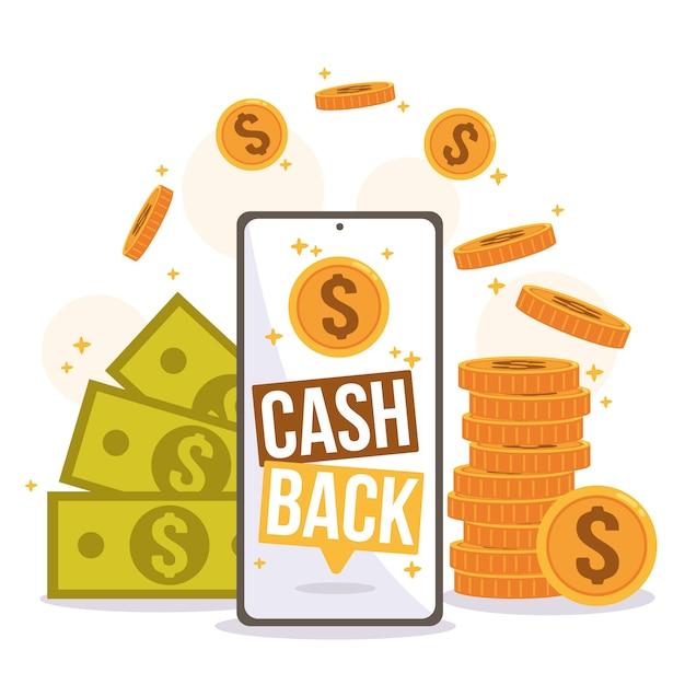 Ilustración del concepto de devolución con dinero y monedas vector gratuito