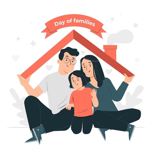 Ilustración del concepto del día internacional de las familias vector gratuito