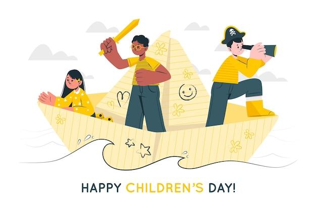 Ilustración del concepto del día mundial del niño vector gratuito