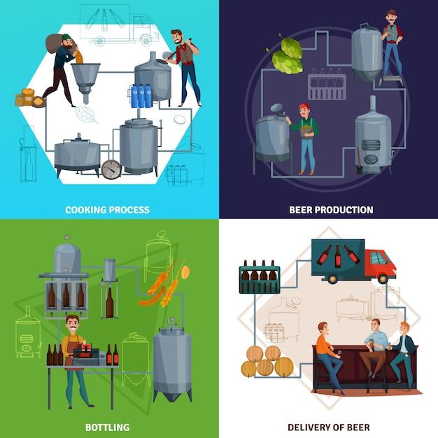 Ilustración de concepto de dibujos animados de producción de cerveza vector gratuito