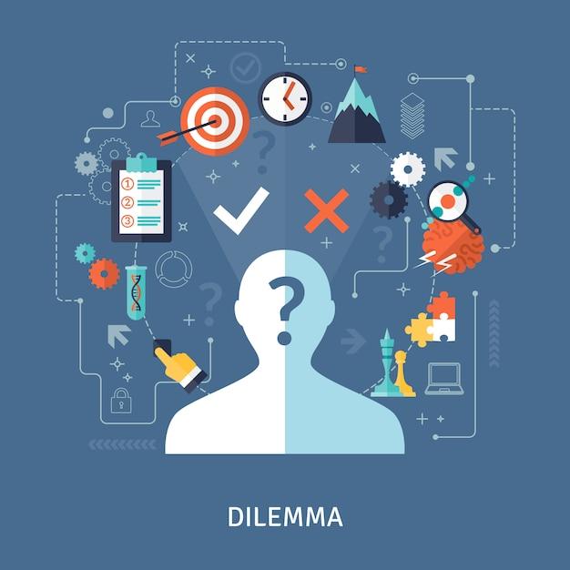 Ilustración del concepto del dilema vector gratuito