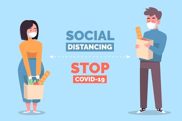 Ilustración del concepto de distanciamiento social vector gratuito