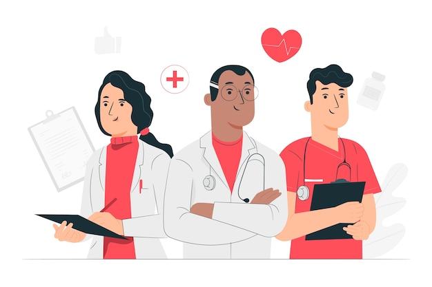 Ilustración del concepto de doctores vector gratuito