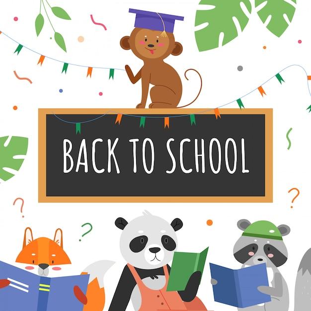 Ilustración del concepto de educación animal. personajes de dibujos animados de estudiantes animales estudian y leen libros, texto de regreso a la escuela escrito con tiza en la pizarra del aula, antecedentes educativos Vector Premium