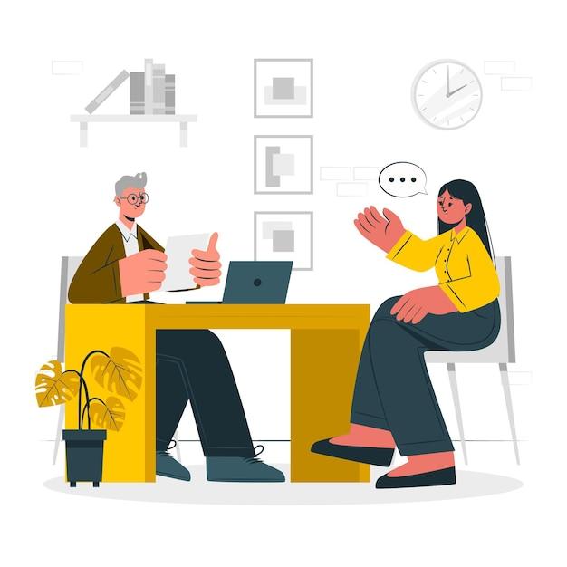 Ilustración del concepto de entrevista vector gratuito