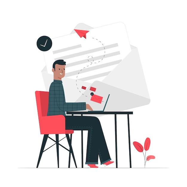 Ilustración del concepto de enviar un mail vector gratuito