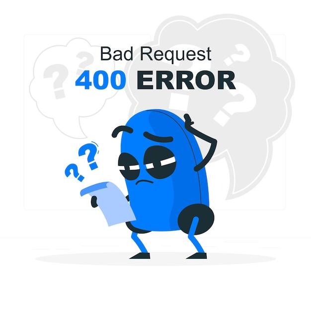 Ilustración del concepto de error 400 solicitud incorrecta vector gratuito