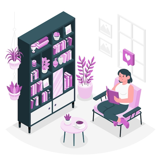 Ilustración de concepto de estanterías de casa vector gratuito