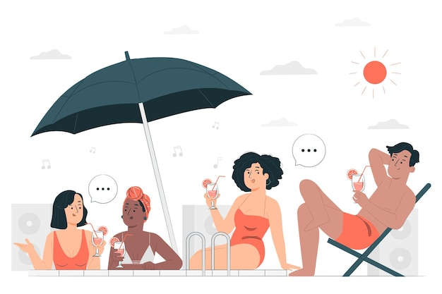 Ilustración de concepto de fiesta de traje de baño vector gratuito