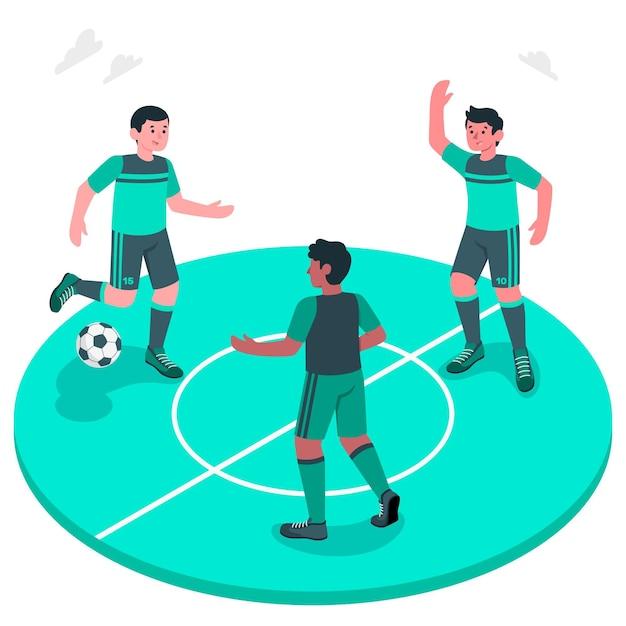 Ilustración del concepto de fútbol vector gratuito