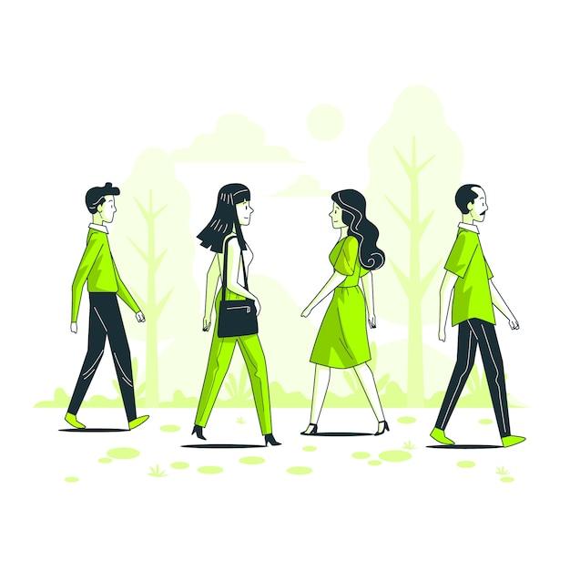 Ilustración de concepto de gente pasando vector gratuito