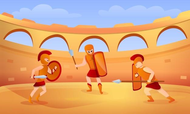 Ilustración de concepto de gladiador, estilo de dibujos animados Vector Premium