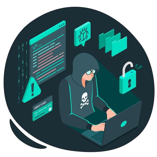 Ilustración del concepto de hacker vector gratuito