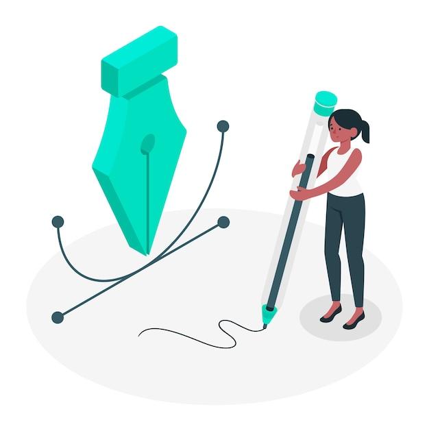Ilustración del concepto de herramienta de pluma vector gratuito
