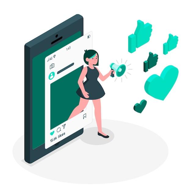 Ilustración de concepto de influencer vector gratuito