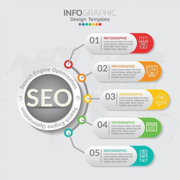 Ilustración del concepto de infografía de seo infografía con plantilla de diseño de negocios. Vector Premium