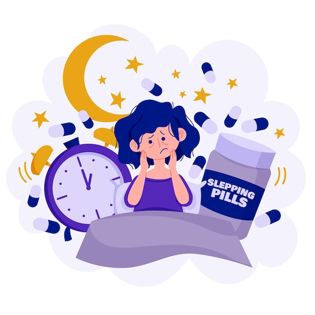 Ilustración del concepto de insomnio vector gratuito