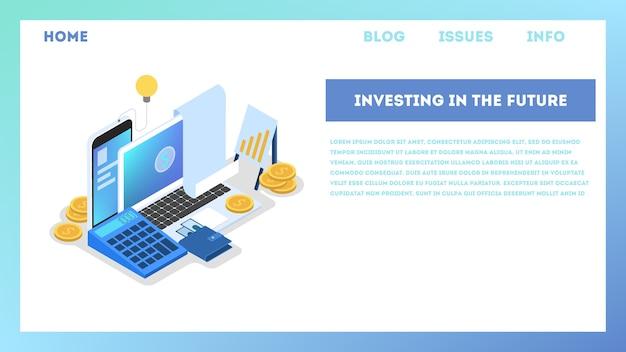 Ilustración del concepto de inversión. idea de apoyo financiero. Vector Premium