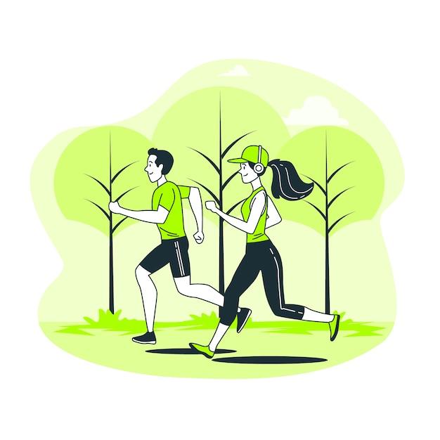 Ilustración del concepto de jogging vector gratuito