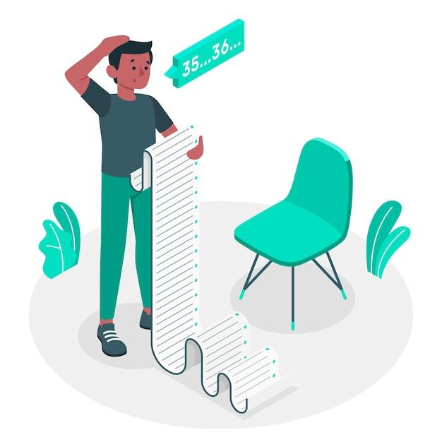 Ilustración del concepto de lectura de lista vector gratuito