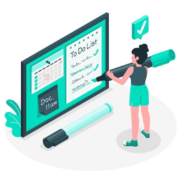 Ilustración del concepto de lista de cosas por hacer vector gratuito