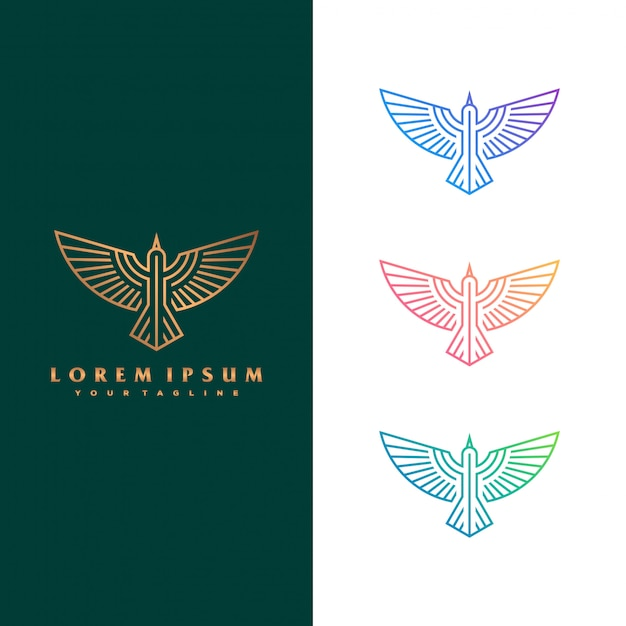 Ilustración de concepto de logotipo de falcon. Vector Premium