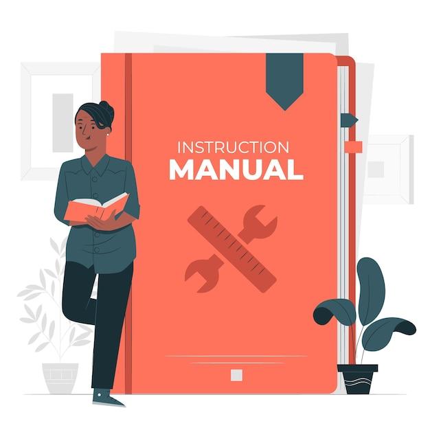 Ilustración del concepto de manual de instrucciones vector gratuito