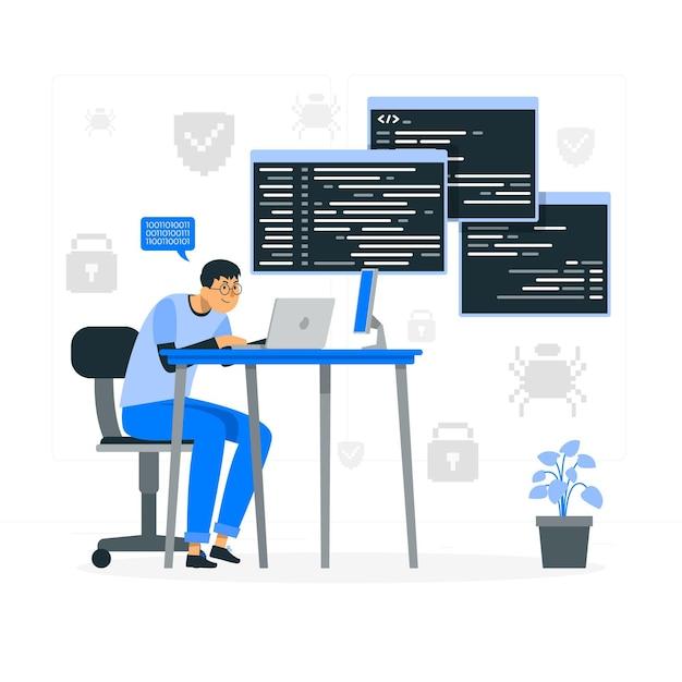 Ilustración del concepto de mecanografía de código vector gratuito