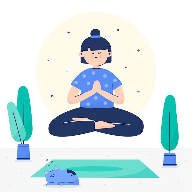 Ilustración del concepto de meditación vector gratuito